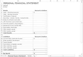 Personal Financial Statement Form Gorgeous Net Worth Statement Template Free Strategic Planning Templates Net