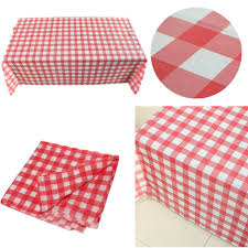 red gingham plastic disposable wipe check tablecloth party outdoor picnic pr