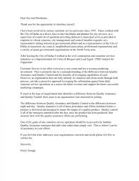 Quality Assurance Cover Letter Example Cover Letter