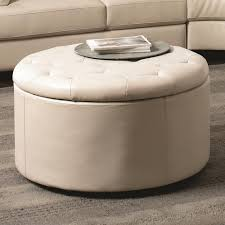 tufted leather ottoman coffee table with optional storage shelf and white leather cover on gray fabric carpet ideas