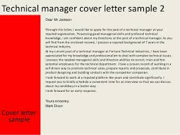 Technical Manager Cover Letter Technical Manager Cover Letter