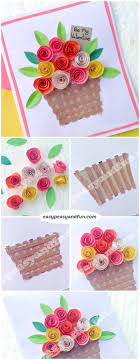 Rose Flower With Paper Diy Rolled Paper Roses Valentines Day Or Mothers Day Card Easy