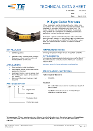 Cable Identification Chart Technical Data Sheet K Type Cable Markers Manualzz Com