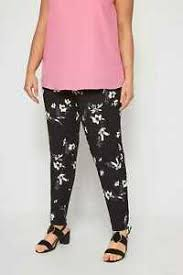 Details About Yours Clothing Womens Plus Size Black White Floral Harem Trousers