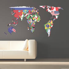 Full Colour World Map Atlas Office Bedroom Wall Art Sticker Decal U2026  Throughout Wall Art Stickers