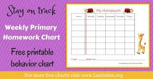 Homework Chart For Parents Free Printable Homework Charts For Kids Acn Latitudes