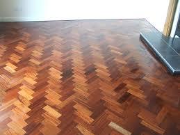 sanded teak wood parquet floor
