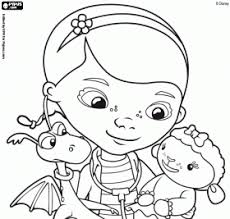 Dottie Doc Mcstuffins With Stuffy And Lambie Online Coloring Pages