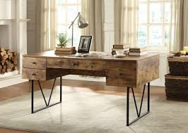 cst800999 antique nutmeg finish wood and black metal frame writing desk with multiple drawers