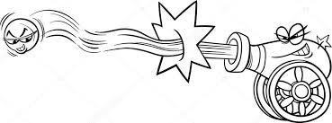Afvuren Kanon En Cannonball Kleurplaten Pagina Stockvector