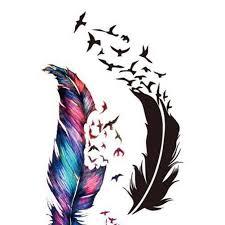красочные тело искусство перо маленькие птицы татуировки стикер блеск тату