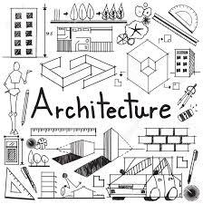 architecture design blueprint. Architecture And Architect Design Profession Building Exterior Blueprint Handwriting Doodle Tool Sign Symbol In