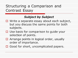 comparison and contrast writing what is comparison and contrast  structuring a comparison and contrast essay subject by subject  write a separate essay about each