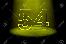 Number 54 Illuminated With Yellow Light On Black Background Stock ...