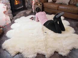genuine sheepskin rug for durable leather and fur rugs chic faux sheepskin rug and tile