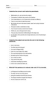 Quiz Grade 5 Subject Verb Agreement