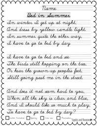 Handwritting Practice Cursive Copywork Poetry Handwriting Practice