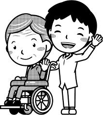 車いすの患者と介護士イラスト病院働く人素材のプチッチ