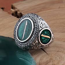 Silver Stone Ring Designs Zircon Stone Silver Elif Design Green Men Ring Boutique Ottoman Exclusive