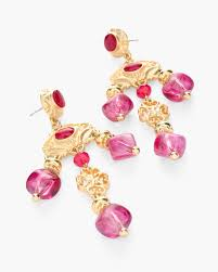 return to thumbnail image selection pink and gold tone chandelier earrings