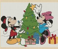 Christmas Tree Cross Stitch Chart Details About Mickey And Minnie At Christmas Tree Counted Cross Stitch Chart No 10 139