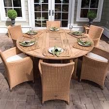 6 round drop leaf teak table patio