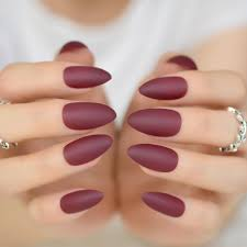 Classic Design Nails Us 1 34 25 Off 24pcs Wine Red Short Stiletto Candy Nails Classic Design Matte Acrylic False Nails Diy Nail Art Full Cover Manicure Tools 352p In