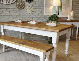 creative rustic dining room decoration with white false brick wall and clock plus custom farmhouse dining table with white wooden base and bench seat ideas