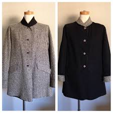 vintage 1950s reversible black white tweed women s fall winter coat with pockets size l large plus size up to 42 bust