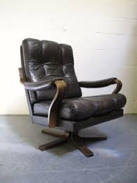 norwegian vintage office chair. Vintage-Danish-Dark-Brown-Leather-Bentwood-Swivel-Armchair- Norwegian Vintage Office Chair