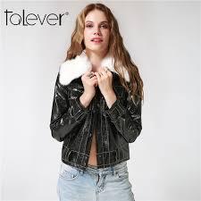 talever women s jacket coat fashion detachable collar leather jacket female casual hip hop