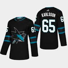 Erik Stealth Jersey Sharks 65 2018-19 Alternate Karlsson San Jose Black Pro Authentic