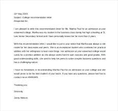 Sample Letter Of Recommendation For College Admission From Teacher Letter Recommendation Template Of Recommendations Example College