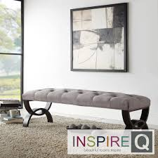 Wellington Grey Linen Arched Base Bench by iNSPIRE Q Classic by iNSPIRE Q