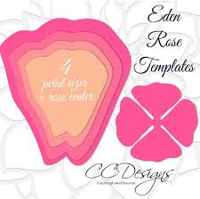 Large Paper Flower Pattern Giant Paper Rose Templates Diy Large Paper Flowers Printable Etsy