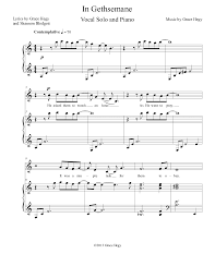 gethsemane sheet music in gethsemane by grace hegy vocal solo