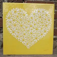 Yellow Wall Art glass heart wall art in yellow 40cm x 40cm