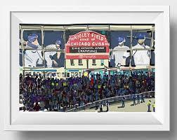wrigley field art print baseball fan