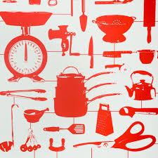 Wallpaper In Kitchen Homeware Wallpaper Airfix Kitchen Wallpaper Red