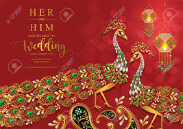 Indian Wedding Invitation Card Templates With Gold Patterned