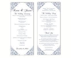 Printable Wedding Program Templates Wedding Program Template Diy Editable Text Word File Download
