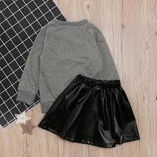 product details of children s spring autumn girl long sleeve letter top black leather skirt two pieces set children s clothing instagram baby girl clothes