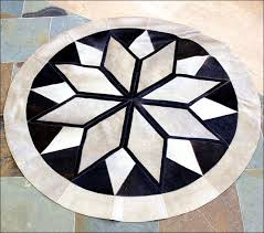 leather patchwork 3d round rug natural sku s2 hilason pure brazilian cowhide hair on