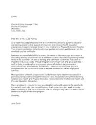 Fitness Cover Letters Letter Of Application For A Pe Teacher Physical Education