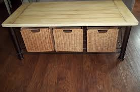 Coffee Table With Wicker Baskets