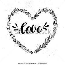hand drawn vector ilration vine decorative wreath in shape heart tribal design element