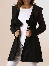 beam waist long sections worsted solid color ruffles trench coat for women black xl