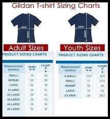 Gildan T Shirt Size Chart Gildan Shirt Measurements In 2020