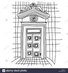 Door Vector Design Old Gate Sketch Vintage Door Vector Illustration Stock