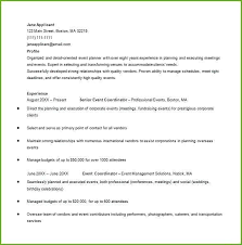 Excel Resume Examples Event Planning Resume Template Hotwiresite Com